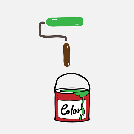 paint can: Paint can and roller drawing cartoon Illustration