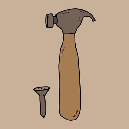 Hammer and nail cartoon drawing Vector