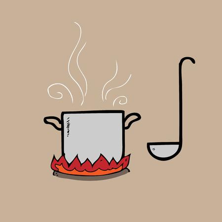 cast iron: Pot on fire and dipper cartoon