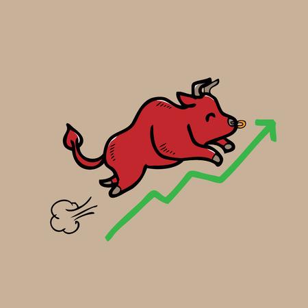 bullish market: Bullish stock market progression cartoon