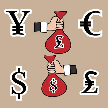 Hands currency exchange cartoon drawing Vector