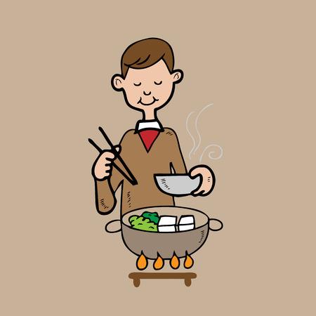 Man has Shabu meal Asian style