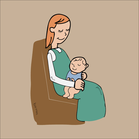 Mom and baby on lap cartoon character Vector