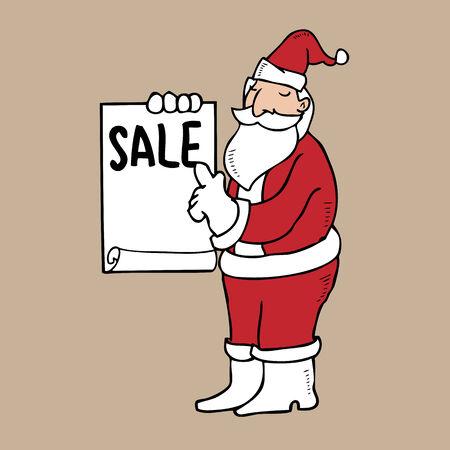 Santa holding blank sheet of sale Vector