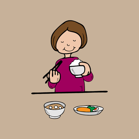 Woman has meal with rice Asian style Vector