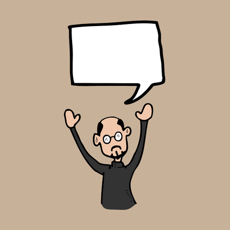 turtleneck: Bald man in turtleneck shirt speech balloon Illustration