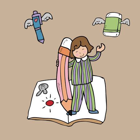 Boy book pencil in fantasy world Vector