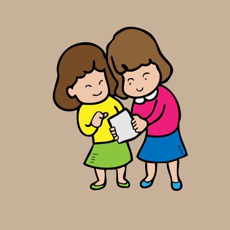 Girls read note together Vector