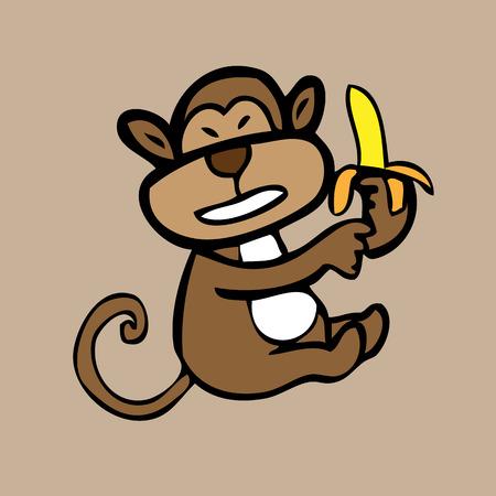 banaan cartoon: Aap en banaan cartoon vector karakter Stock Illustratie
