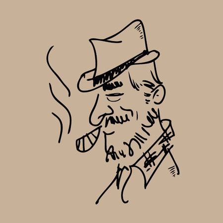 Man smoking cigar line drawing Vector