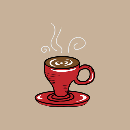 Coffee red cup cartoon drawing