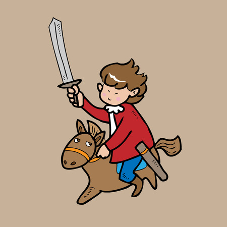 Boy knight riding hose cartoon character Vector