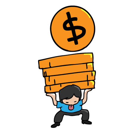 Man carries heavy load of golden coins Vector
