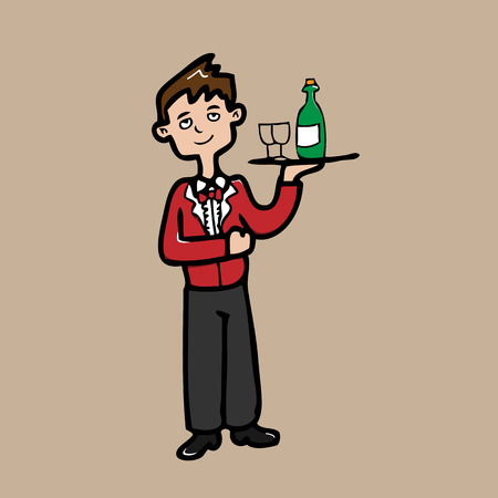 servant: Young servant in red uniform cartoon Illustration