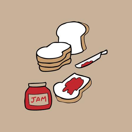 Bread jar jam breakfast nutrition Vector