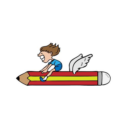 Boy ridding flying pencil cartoon Vector