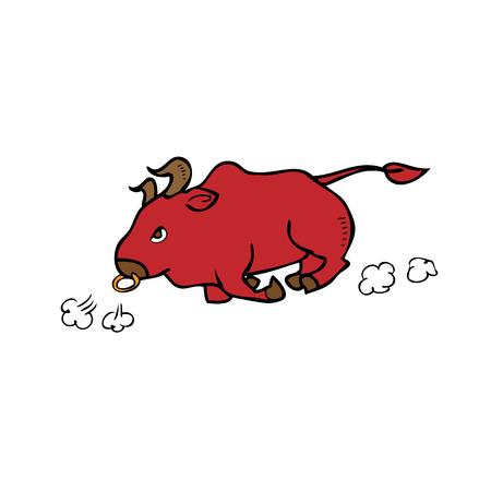 Angry red bull running cartoon Vector