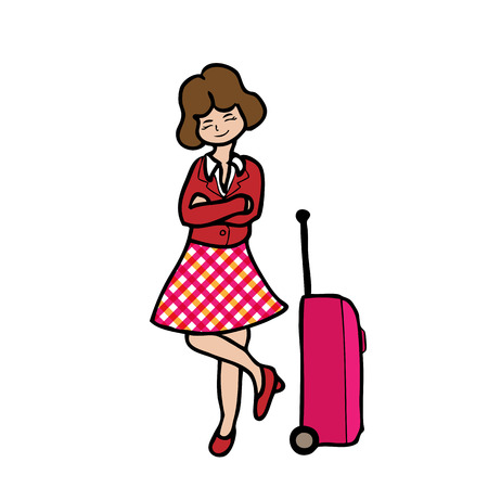 Woman and travel luggage cartoon character Vector