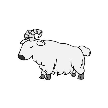 montañas caricatura: Personajes de dibujos animados dibujo del doodle de Cabra Vectores