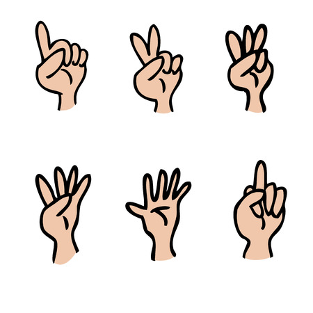 Hands fingers count cartoon set Vector