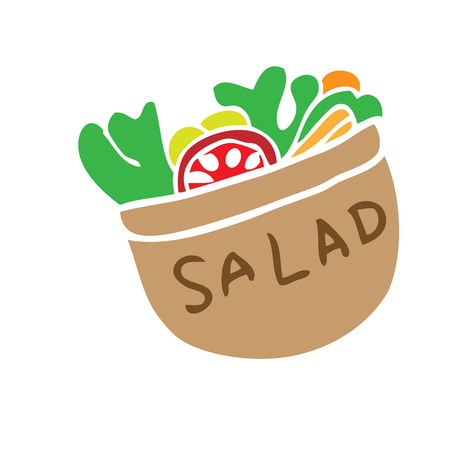 Salad bowl cartoon painting character Vector