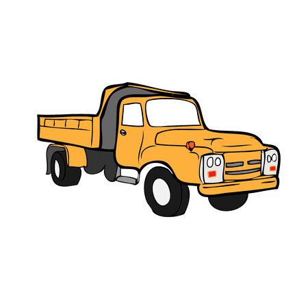 dumping: Heavy dumping truck cartoon vector