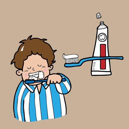 wake up happy: Boy sleepy brushing teeth cartoon vector