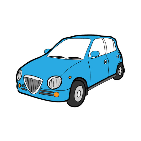 Eco car cartoon drawing vector Illustration