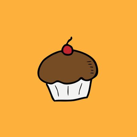 serv: Cupcake doodle icon cartoon vector