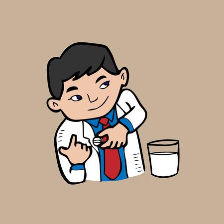 physiotherapist: Doctor pill cartoon vector drawing Illustration