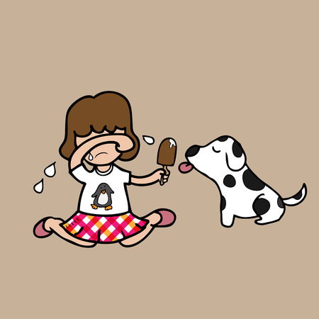 Girl crying and sharing ice cream with dog Vector