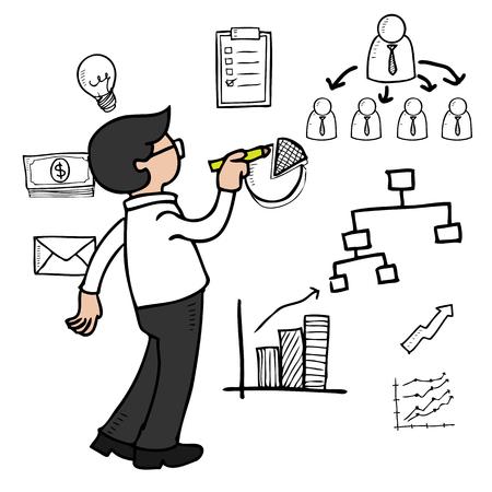 Man drawing organization chart on wall