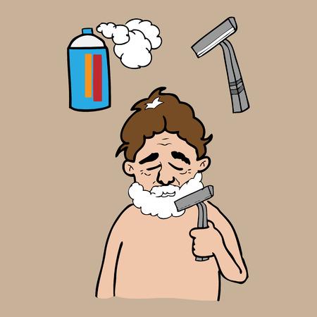 Man shaving in bath room vector Vector