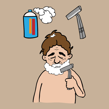 bath room: Man shaving in bath room vector