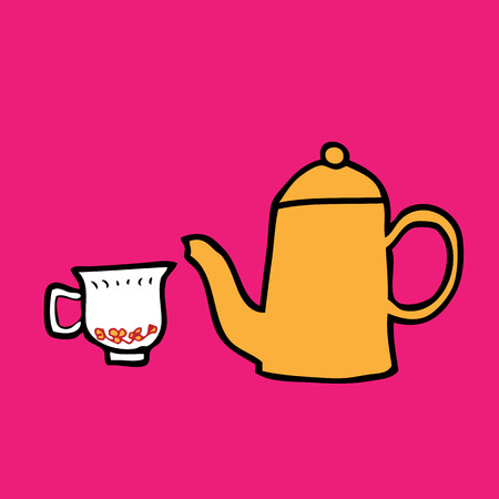 Tea pot and cup cartoon vector Vector