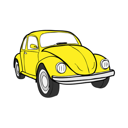 car transportation: Beetle classic car vector cartoon