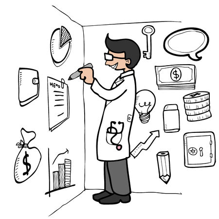 Doctor drawing financial plan on wall Vector