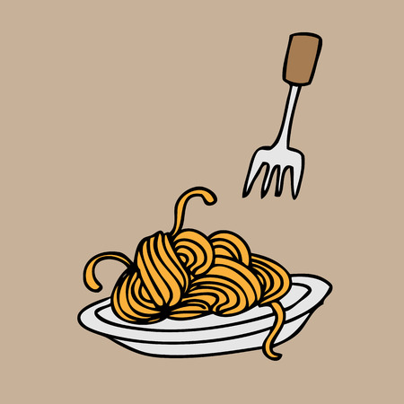 Spaghetti and fork cartoon vector Иллюстрация