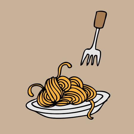 Spaghetti and fork cartoon vector Illustration