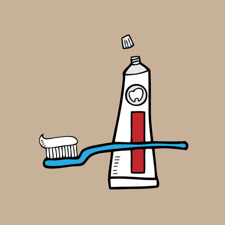 paste: Tooth brush and paste cartoon vector