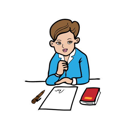 signing papers: Businesswoman sign contact cartoon vector
