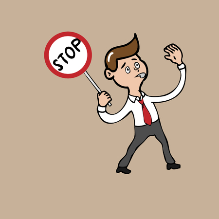 Businessman blowing whistle holds stop sign Vector