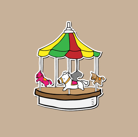merry go round: Merry go round amusement playground cartoon