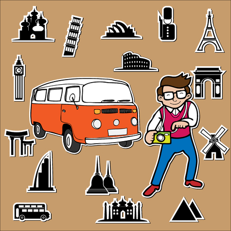 Classic van travel around the world Vector