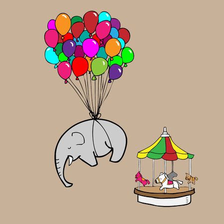 Elephant flying by balloons cartoon vector