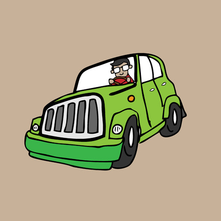 Man drive car cartoon vector Vector