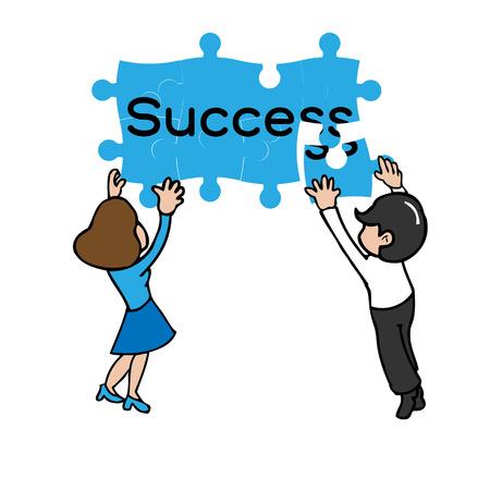 Business team jigsaw success cartoon vector Vector
