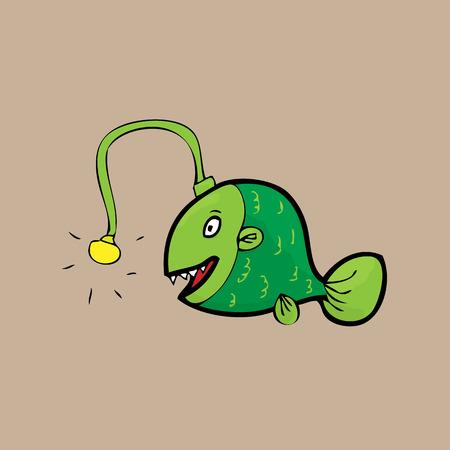 sea monster: Deep sea monster Anglerfish cartoon