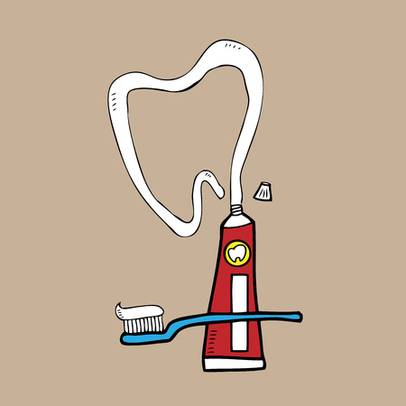 Dental toothpaste and toothbrush cartoon vector Vector