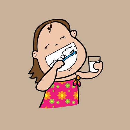 Girl brushes teeth cartoon vector Vector